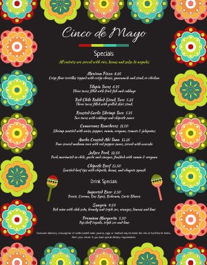 Cinco De Mayo Flowers Menu