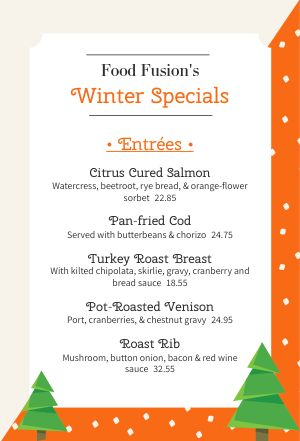 Winter Specials Table Tent