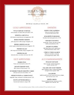 Corporate Holiday Catering Menu