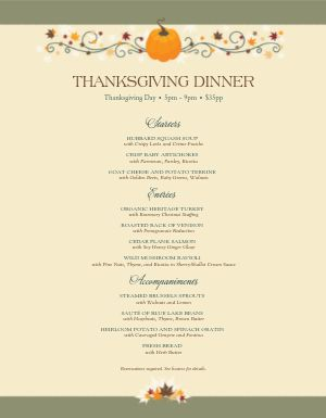 Happy Thanksgiving Menu