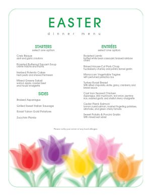 Traditional Easter Brunch Menu