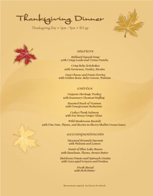 Autumn Dinner Menu