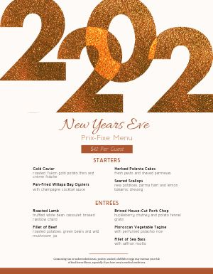 Golden Year New Years Menu