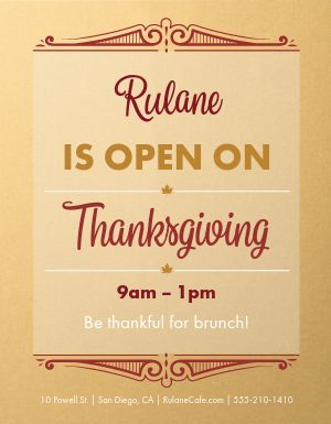 Open for Thanksgiving Flyer