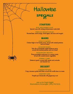 Spider Halloween Menu