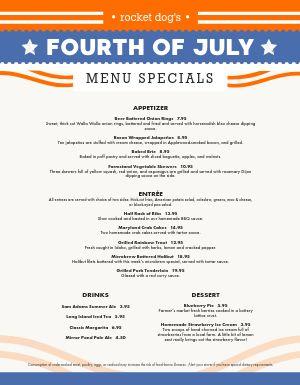 Printable 4th of July Menu