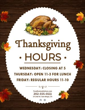Thanksgiving Hours Sign