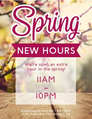 Spring New Hours Flyer