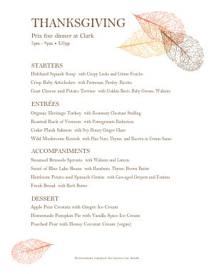 Thanksgiving Buffet Menu