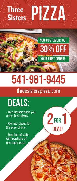 Pizza Delivery Rack Card