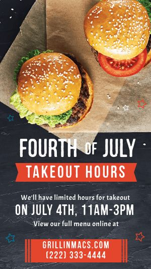 Fourth of July Burgers Instagram Story