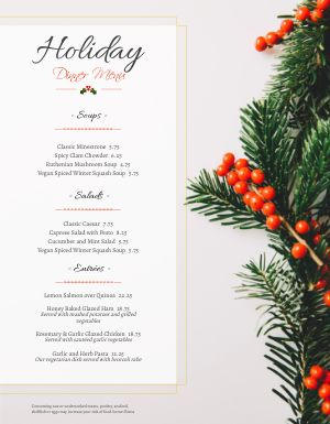 Christmas Holly Berries Menu