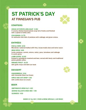 St Patricks Day Specials Menu