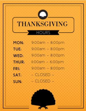 Thanksgiving Restaurant Hours Flyer