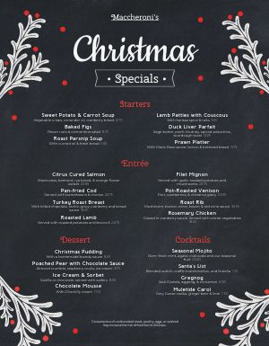 Christmas Season Menu