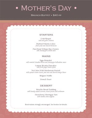 Brunch for Mothers Day Menu