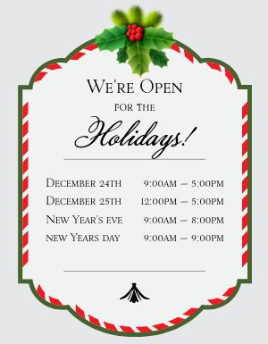 Holiday Open Hours Flyer
