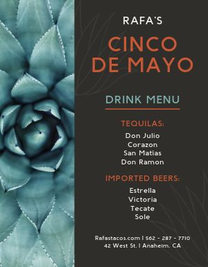 Cinco de Mayo Drink Menu
