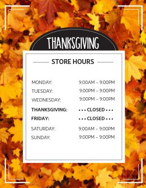 Thanksgiving Store Hours Flyer