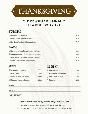 Holiday Preorder Form Menu
