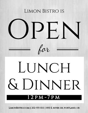 Open Lunch Dinner Flyer