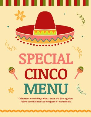 Cinco De Mayo Menu Flyer