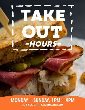 Takeout Open Hours Flyer