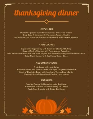 Thanksgiving Meal Menu