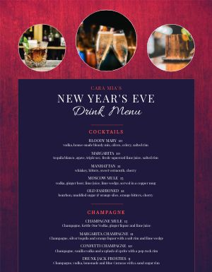 New Years Drink Menu