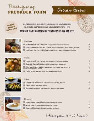 Thanksgiving Preorder Menu