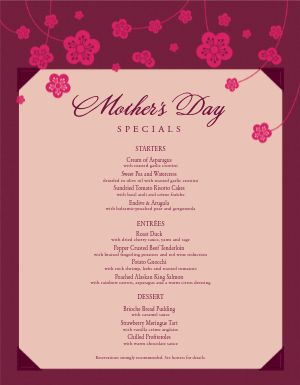 American Mothers Day Menu