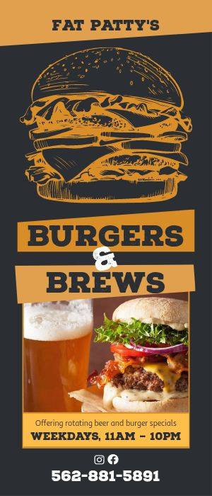 Burgers and Brews Rack Card