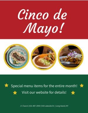 Cinco De Mayo Specialties Flyer