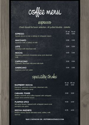 American Coffee A4 Menu