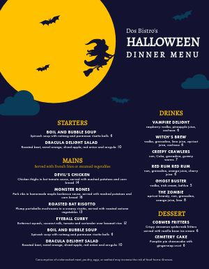 Halloween Holiday Dinner Menu