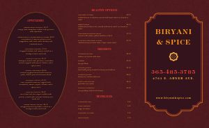 Red Middle Eastern Takeout Menu