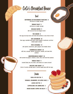 Breakfast House Menu