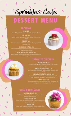 Cupcake Dessert Menu