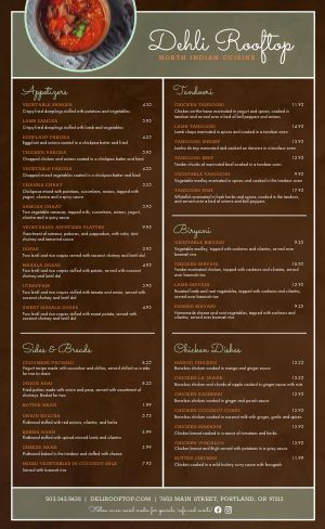 Wooden Indian Menu