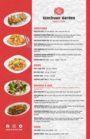 Chinese Cuisine Tabloid Menu