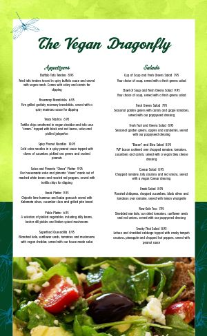 Green Dragonfly Vegan Menu