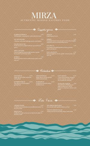 Middle Eastern Chevron Menu