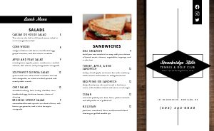 Traditional Country Club Takeout Menu