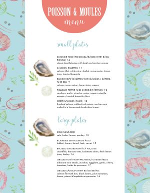 French Seafood Menu