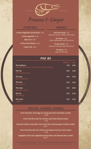 Sample Vietnamese Menu