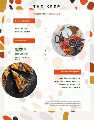 Artsy French Menu