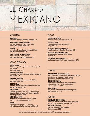 Mexican Restaurante Menu