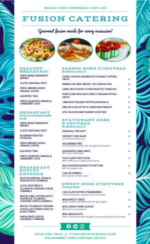 Electric Catering Menu