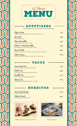 Casual Mexican Menu