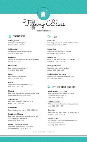 Teal Coffee Menu